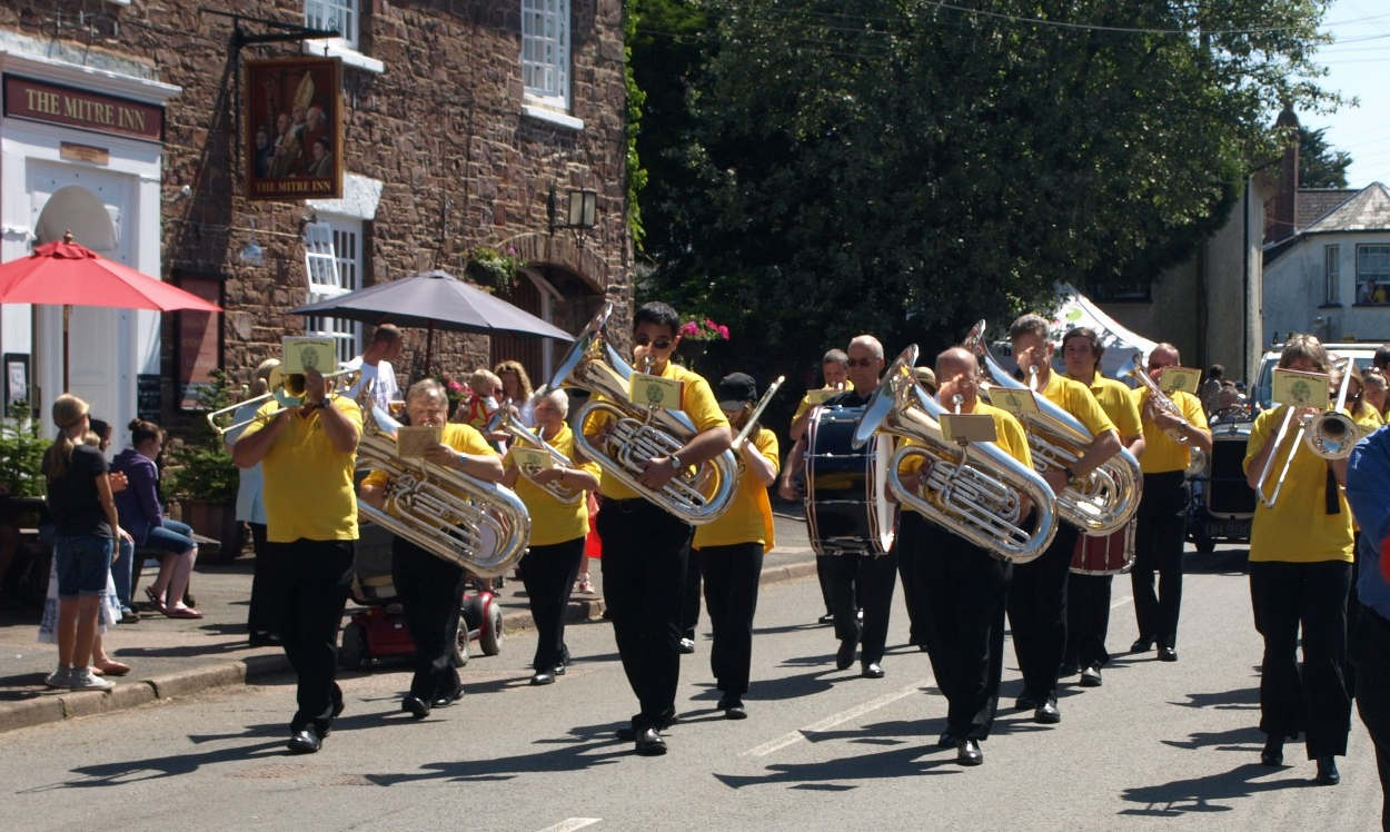 The band marching at St John's Fair in 2014